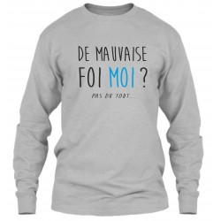 "Sweat Col Rond Gris ""Mauvaise Foi"""