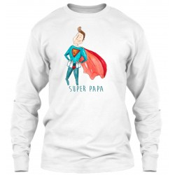 "Sweat Col Rond Blanc  ""Super Papa"""