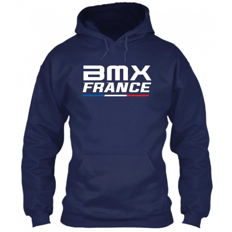 "Sweat à Capuche Bleu Navy ""BMX France"""