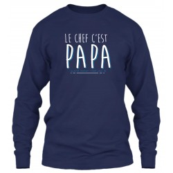 "Sweat Col Rond Bleu Navy ""Papa le Chef"""