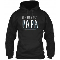 "Sweat à Capuche Noir ""Papa le Chef"""