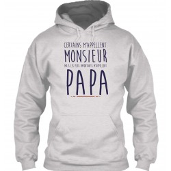 "Sweat à Capuche Gris ""Monsieur Papa"""
