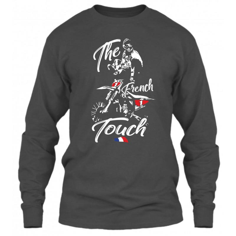"Sweat Col Rond Gris Foncé ""The French Touch"""
