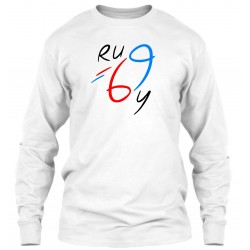 "Sweat Col Rond Blanc ""Rugby 69"""